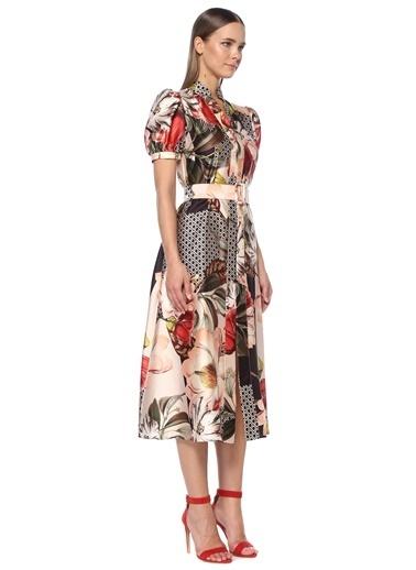 NetWork Kadın 1073797 Çiçek Desenli Midi Elbise Pudra